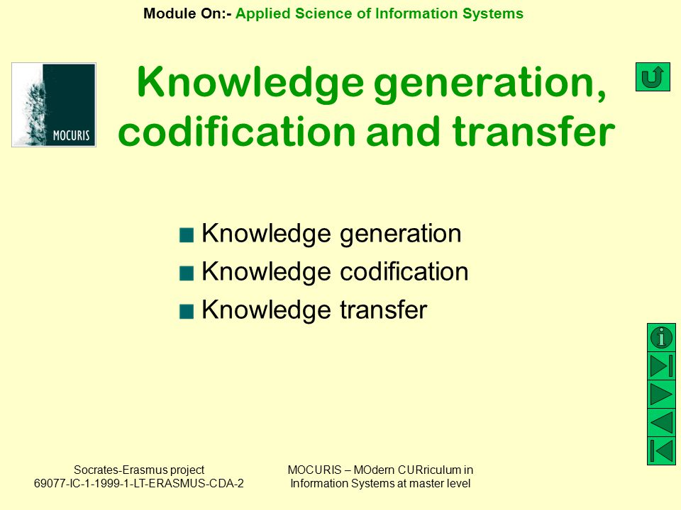 Knowledge generation, codification and transfer