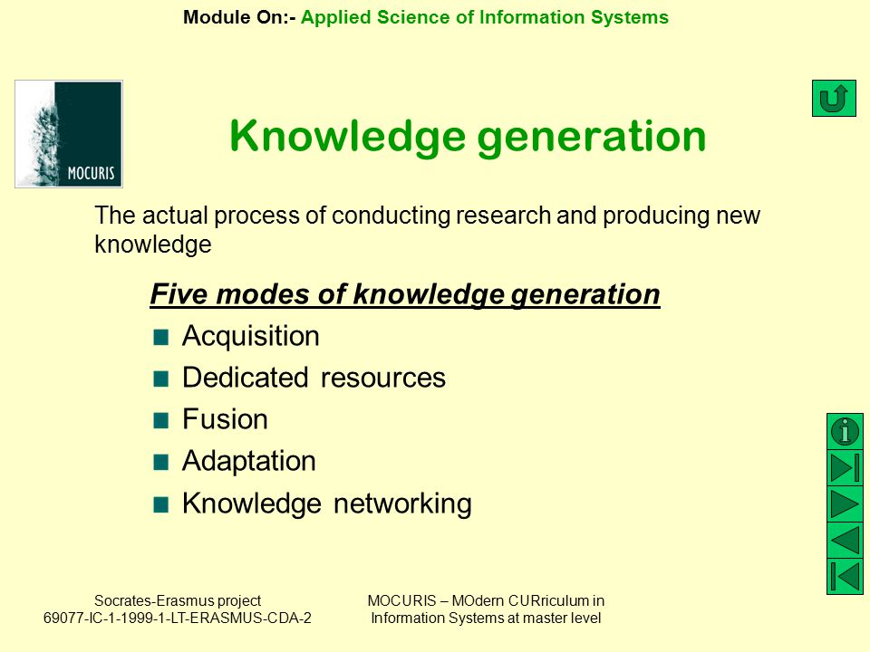 Knowledge generation Five modes of knowledge generation Acquisition