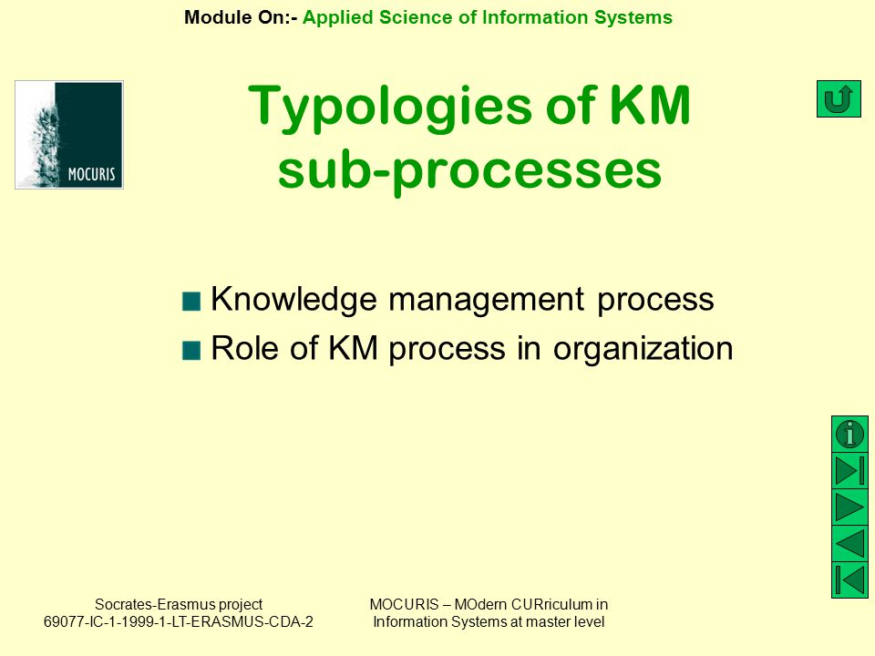 Typologies of KM sub-processes