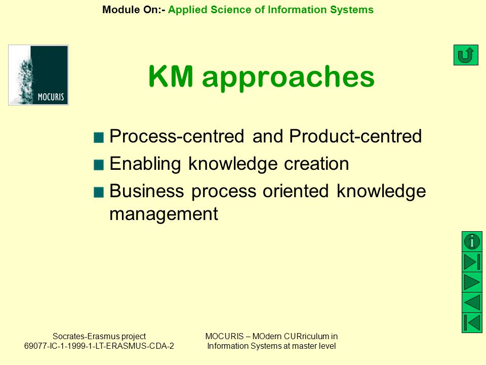 KM approaches Process-centred and Product-centred