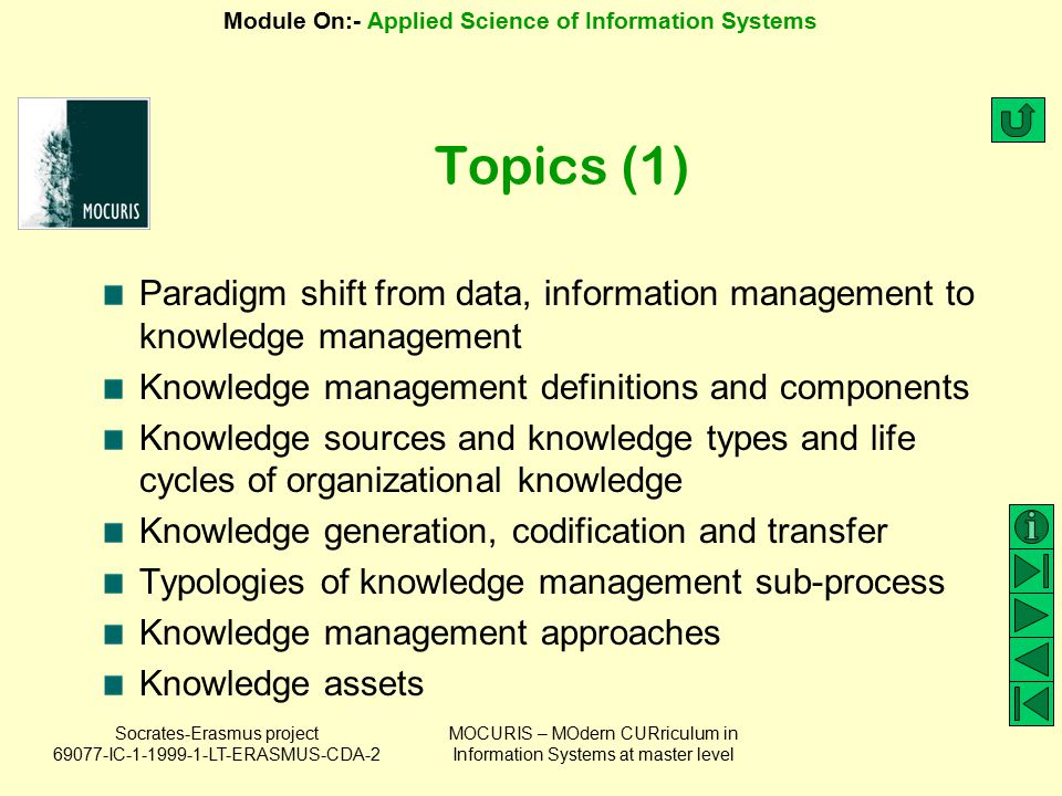 Topics (1) Paradigm shift from data, information management to knowledge management. Knowledge management definitions and components.