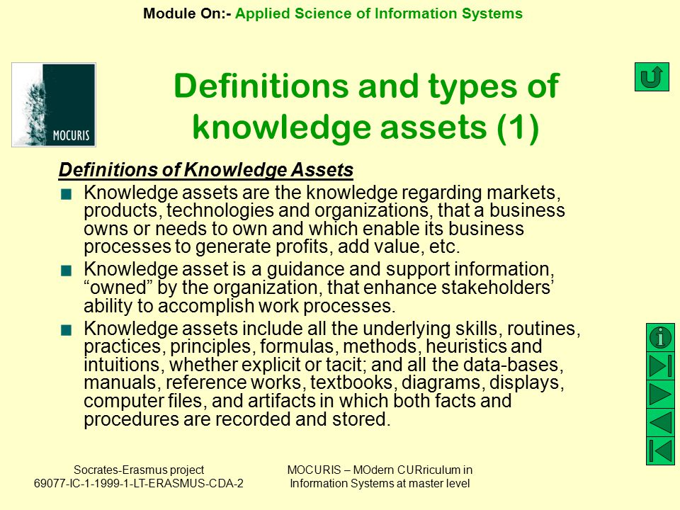 Definitions and types of knowledge assets (1)