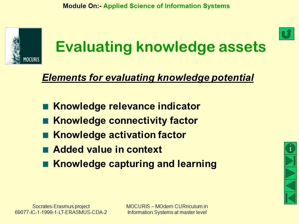 Evaluating knowledge assets