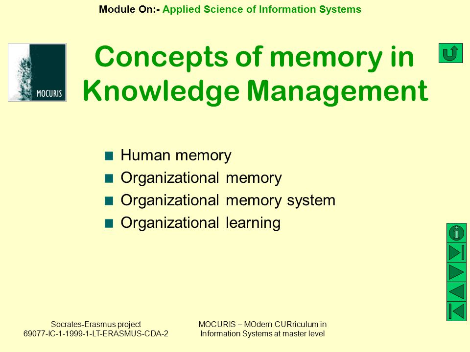 Concepts of memory in Knowledge Management