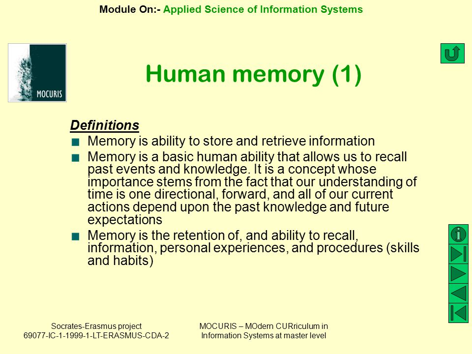 Human memory (1) Definitions