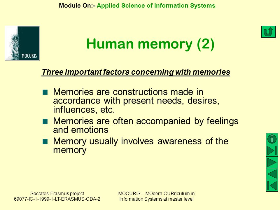 Human memory (2) Three important factors concerning with memories.
