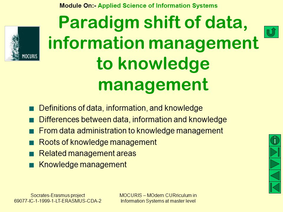 Paradigm shift of data, information management to knowledge management