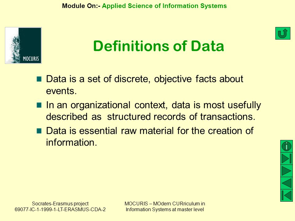Definitions of Data Data is a set of discrete, objective facts about events.