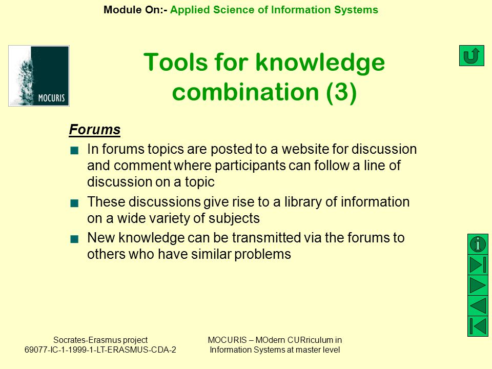 Tools for knowledge combination (3)