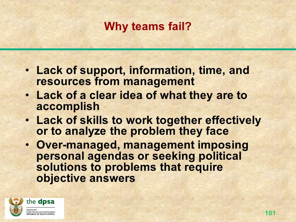Why teams fail Lack of support, information, time, and resources from management. Lack of a clear idea of what they are to accomplish.