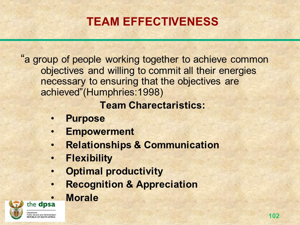 Team Charectaristics: