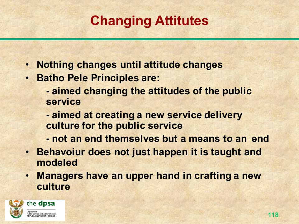 Changing Attitutes Nothing changes until attitude changes