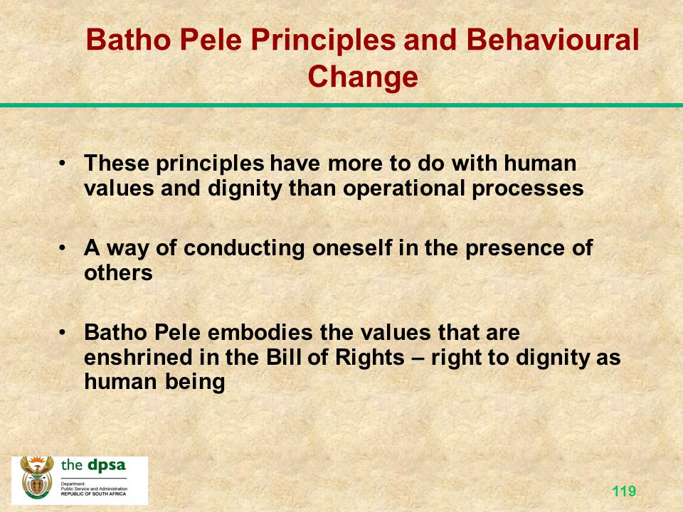 Batho Pele Principles and Behavioural Change