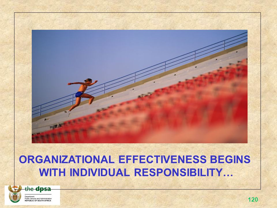 ORGANIZATIONAL EFFECTIVENESS BEGINS WITH INDIVIDUAL RESPONSIBILITY…