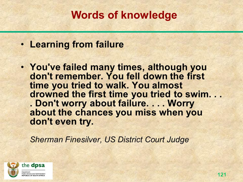 Words of knowledge Learning from failure