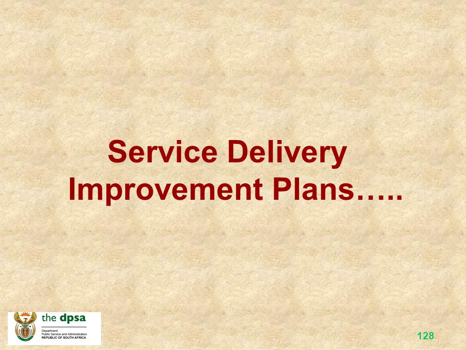 Service Delivery Improvement Plans…..