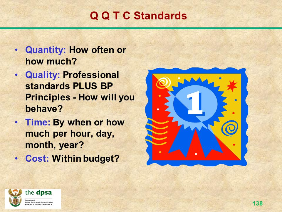 Q Q T C Standards Quantity: How often or how much