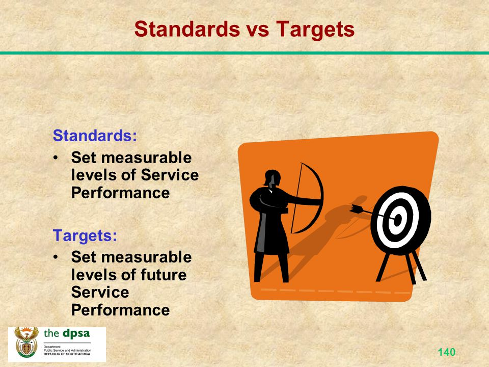 Standards vs Targets Standards: