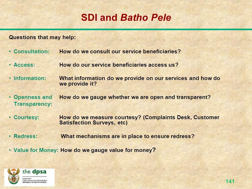 SDI and Batho Pele Questions that may help: