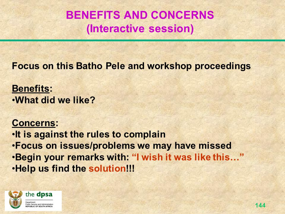 BENEFITS AND CONCERNS (Interactive session)