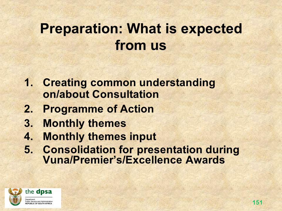 Preparation: What is expected from us