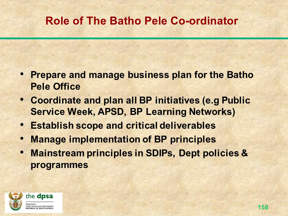 Role of The Batho Pele Co-ordinator