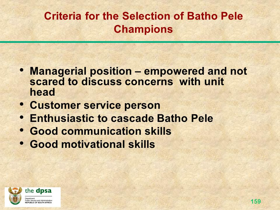 Criteria for the Selection of Batho Pele Champions