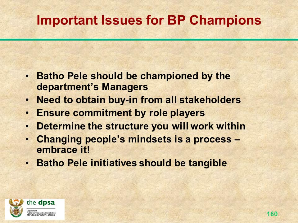 Important Issues for BP Champions
