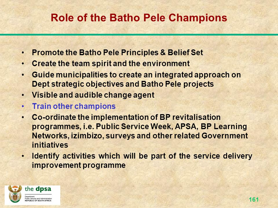 Role of the Batho Pele Champions