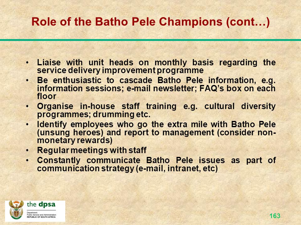 Role of the Batho Pele Champions (cont…)