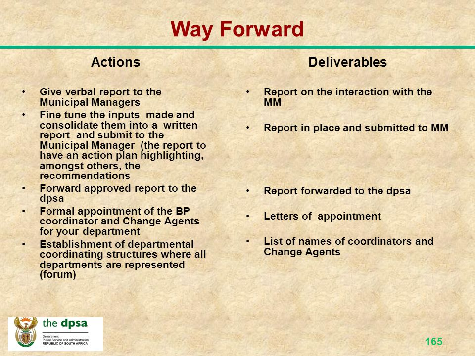 Way Forward Actions Deliverables