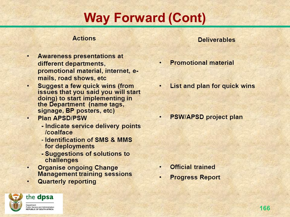Way Forward (Cont) Actions Deliverables