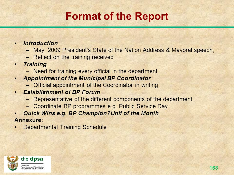 Format of the Report Introduction