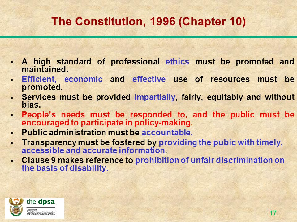 The Constitution, 1996 (Chapter 10)