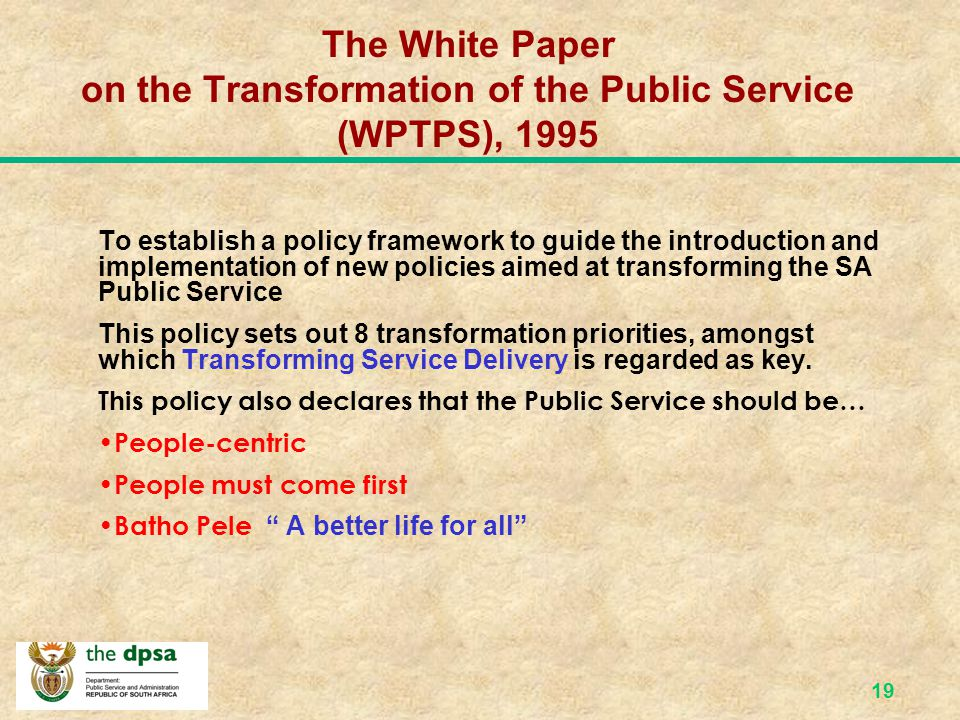 The White Paper on the Transformation of the Public Service (WPTPS), 1995