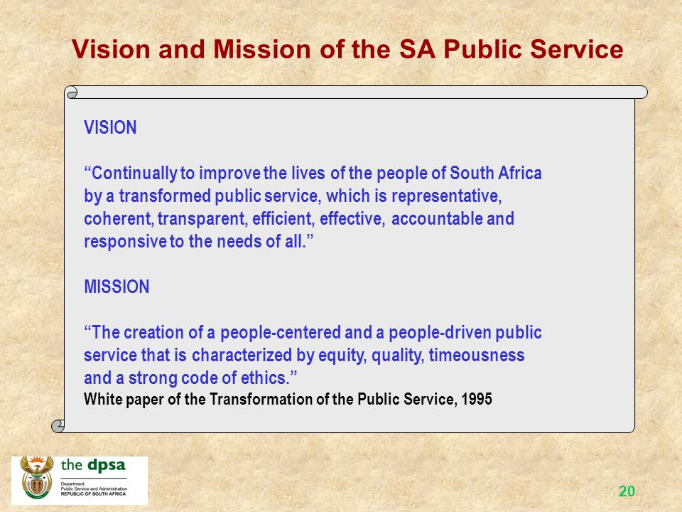 Vision and Mission of the SA Public Service