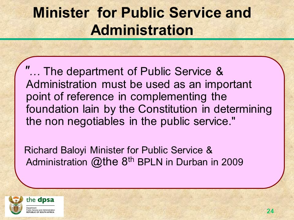Minister for Public Service and Administration