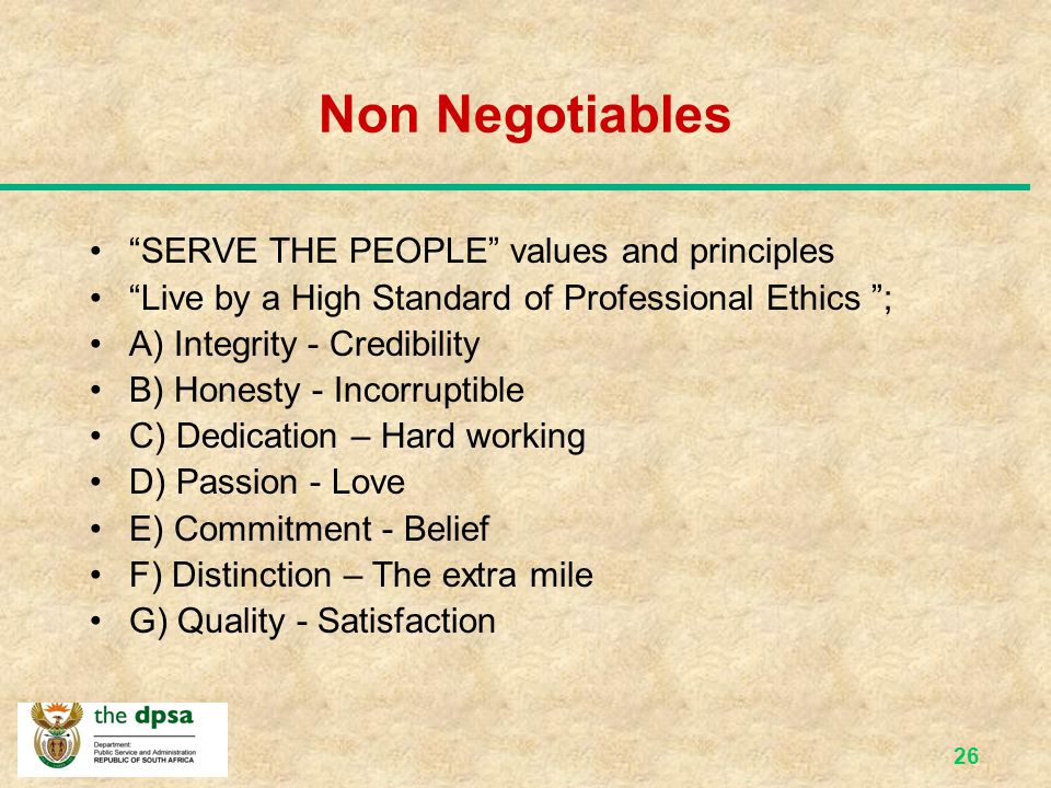 Non Negotiables SERVE THE PEOPLE values and principles