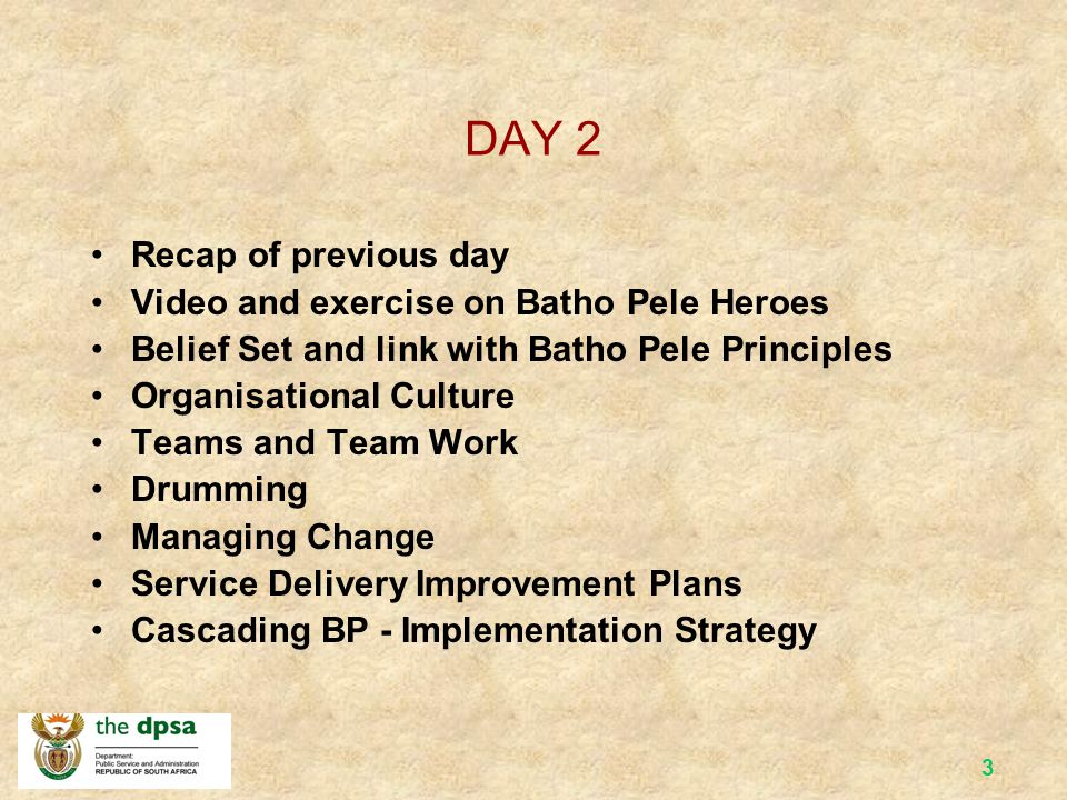 DAY 2 Recap of previous day Video and exercise on Batho Pele Heroes