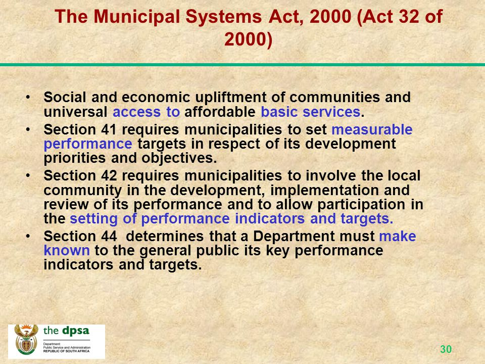 The Municipal Systems Act, 2000 (Act 32 of 2000)
