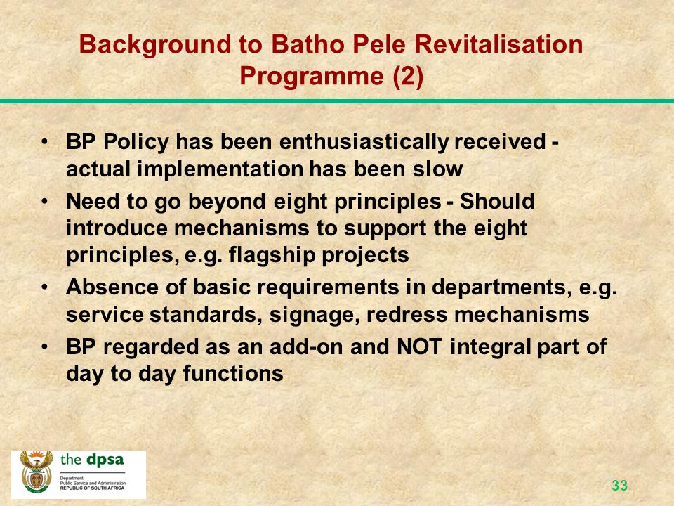 Background to Batho Pele Revitalisation Programme (2)