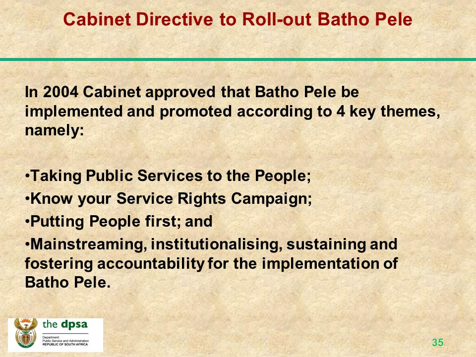 Cabinet Directive to Roll-out Batho Pele