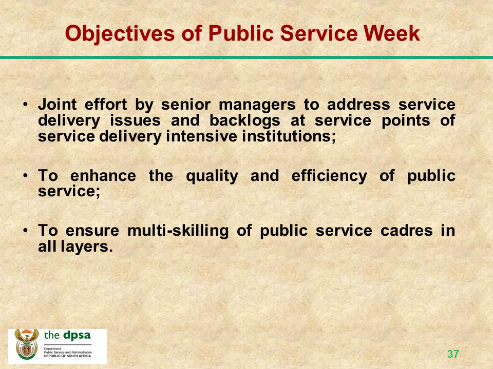 Objectives of Public Service Week