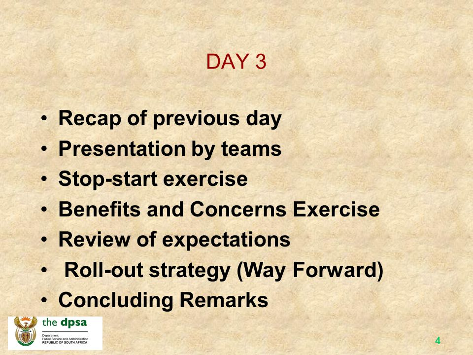DAY 3 Recap of previous day. Presentation by teams. Stop-start exercise. Benefits and Concerns Exercise.