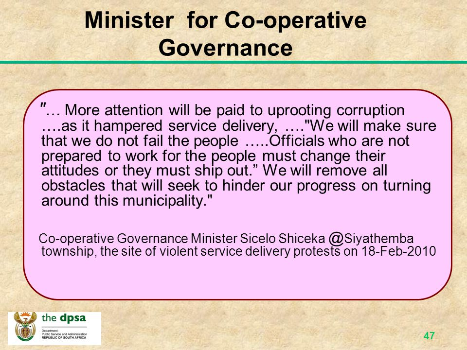 Minister for Co-operative Governance