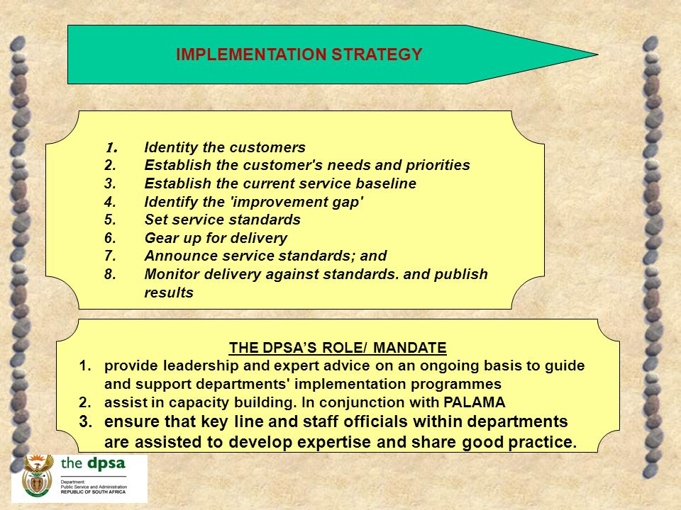 IMPLEMENTATION STRATEGY THE DPSA'S ROLE/ MANDATE