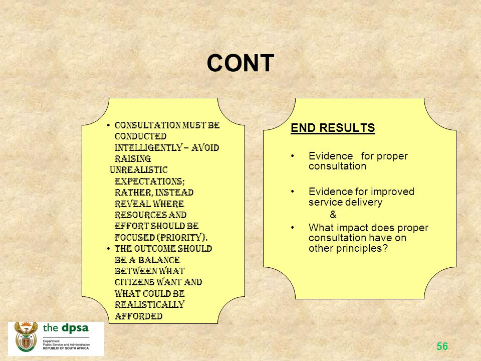 CONT END RESULTS Evidence for proper consultation