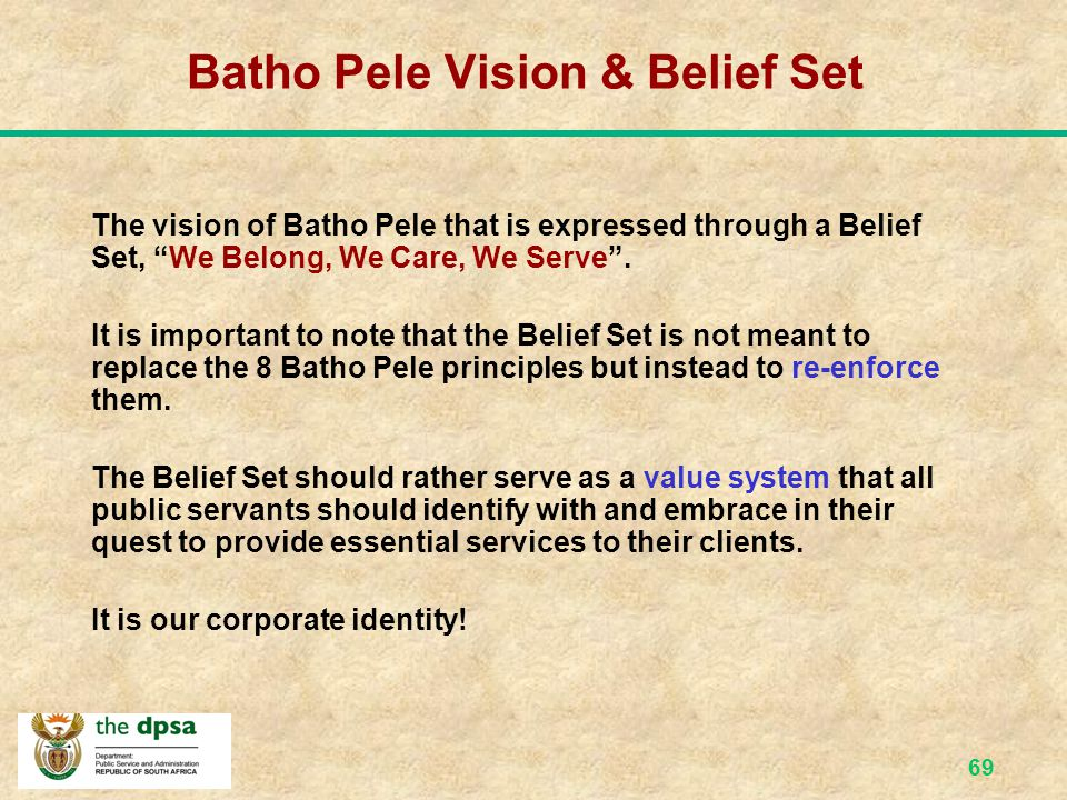 Batho Pele Vision & Belief Set