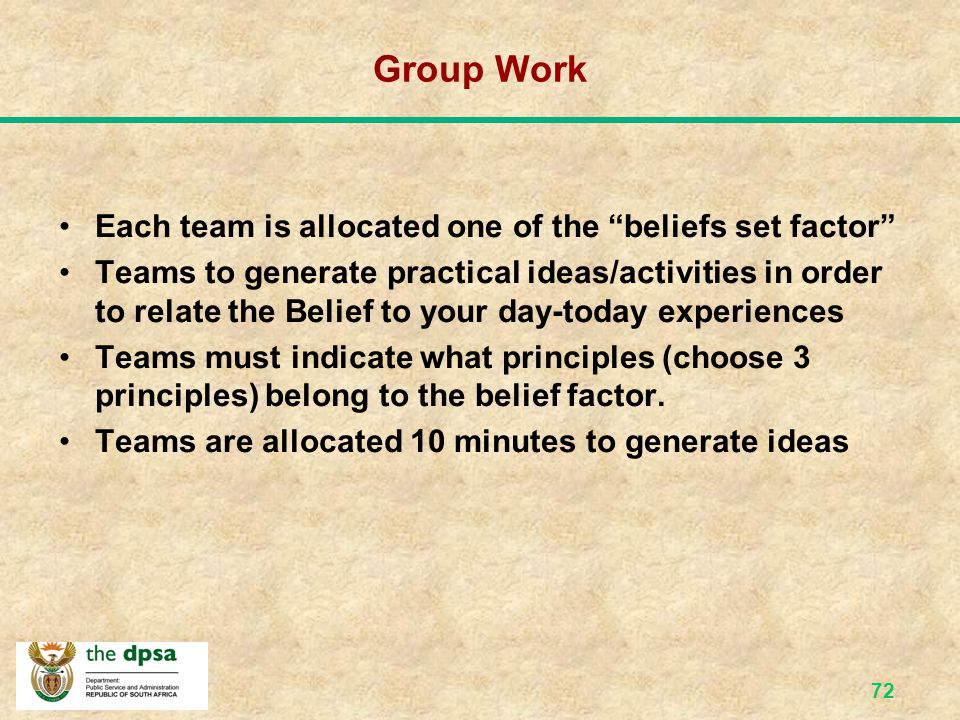 Group Work Each team is allocated one of the beliefs set factor