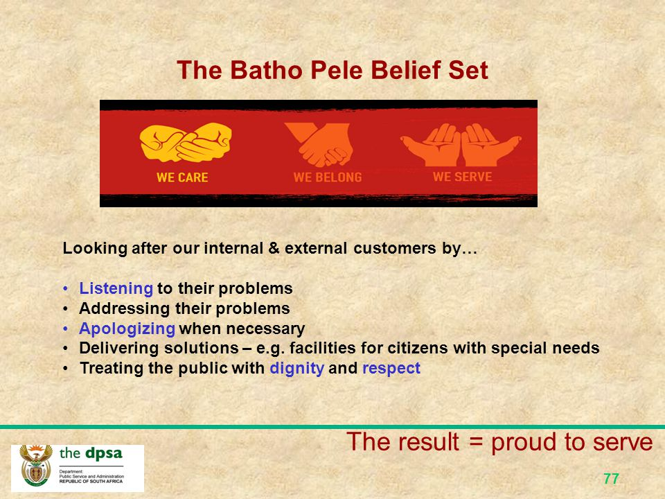 The Batho Pele Belief Set